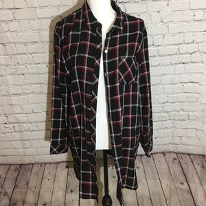 J.Jill Black Multi plaid top with pockets